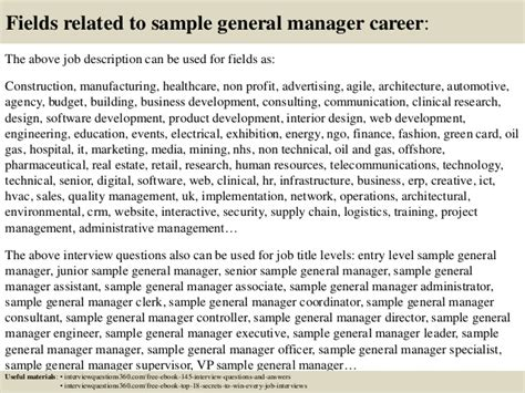 top 10 sle general manager questions and answers