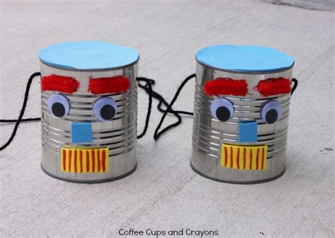 diy tin can stilts coffee cups and crayons