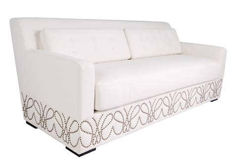 White Leather Sofa With Nailheads by White Leather With Nailheads Sofa