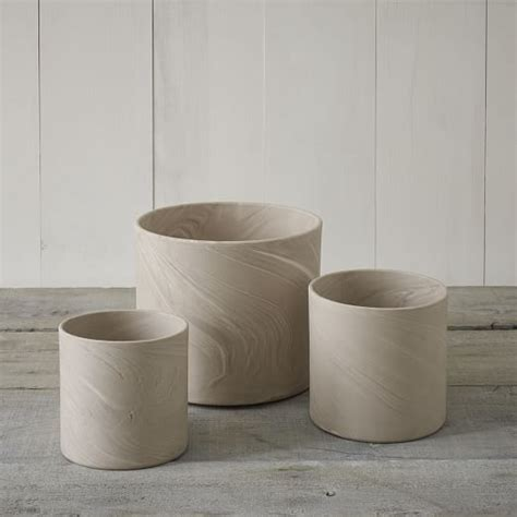 Cylinder Planters by Marbleized Cylinder Planters West Elm