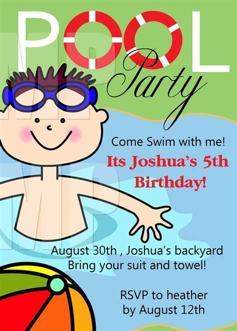 free printable invitation templates pool party free printable birthday party invitations template