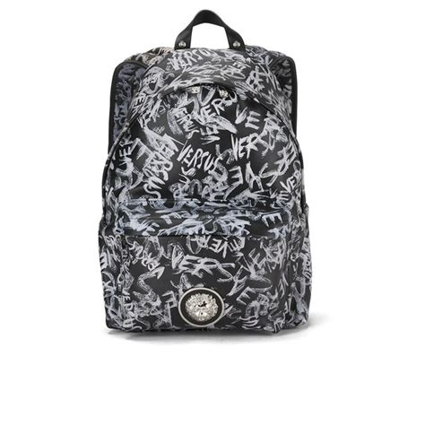 versus versace s graffiti leather backpack black free uk delivery 163 50