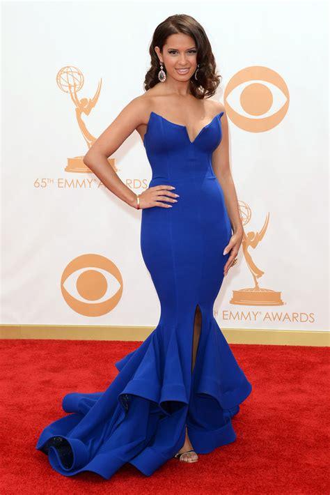 Emmy Trends Strapless by Rocsi Diaz Strapless V Cut Blue Ruffled Trumpet Prom Dress
