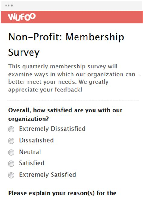 Online Form Template Wufoo Membership Surveys Templates