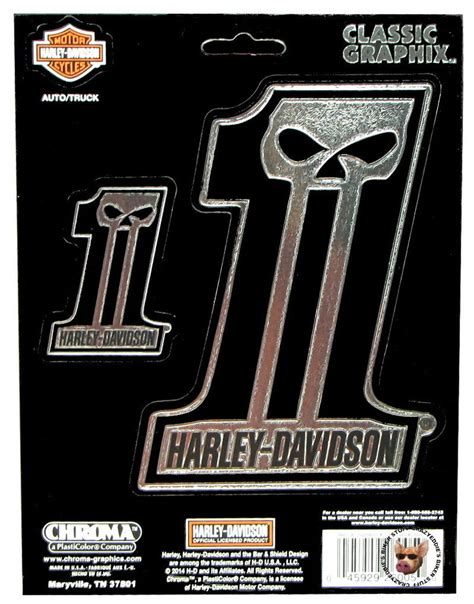 Stiker Harley Davidson Motor Co White L harley davidson custom skull embossed chrome decals set of 2 made in usa ebay