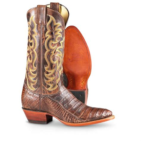 s justin 174 waxy caiman western boots brown