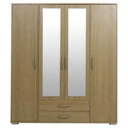 2 Door Wardrobe With Mirror And Drawers Buy Newport 4 Door 2 Drawer Wardrobe With Mirror Oak From