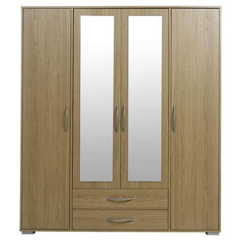 buy newport 4 door 2 drawer wardrobe with mirror oak from