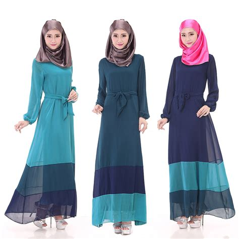 Hits Obral Baju 11 s summer chiffon muslim jubah baju kurung hit color stripe dress 3 colors with belt