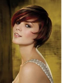 brunette hairstyles  red highlights