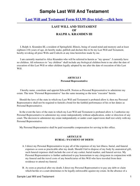 last will and testament sle free printable documents