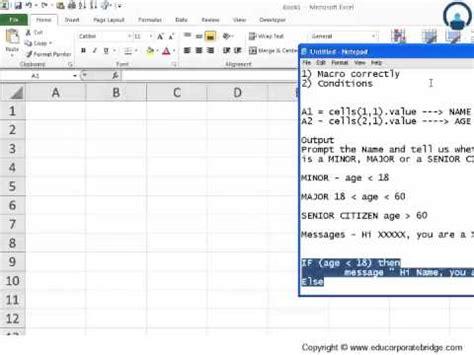 excel visual basic tutorial youtube vba programming if then statement excel vba visual