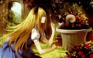 anime in garden wallpaper 43808