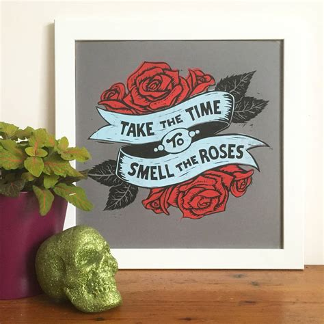 stop and smell the roses tattoo smell the roses linocut print by woah there pickle
