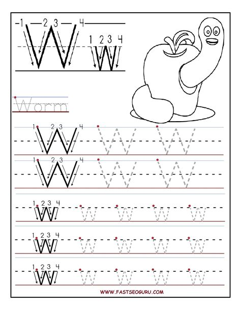 printable alphabet tracing pages printable letter w tracing worksheets for preschool