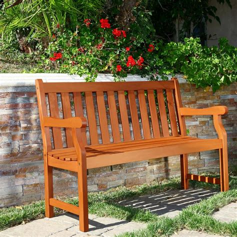 wood benches outdoor vifah henley eucalyptus 2 seater patio bench v206e the