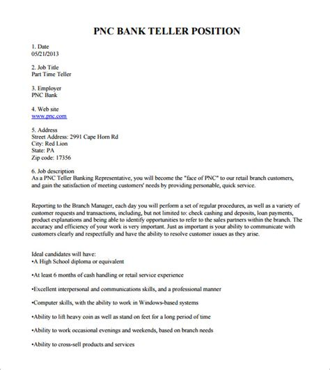 bank teller description template 7 free word pdf