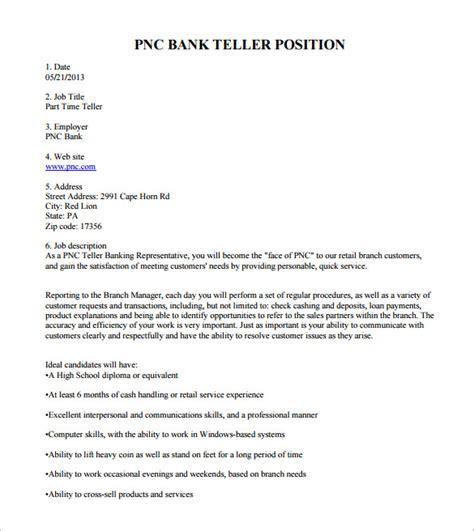 9 bank teller description templates free sle
