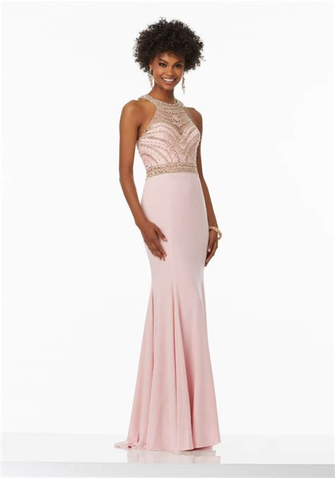 beaded bodice prom dress fitted jersey prom dress with beaded bodice style 99033