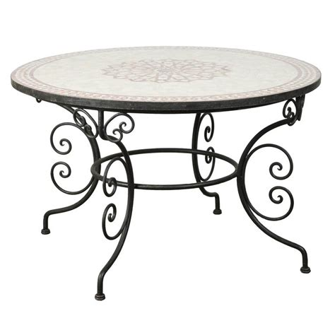Moroccan Dining Table Moroccan Outdoor Mosaic Tile Dining Table On Iron Base 47 In For Sale At 1stdibs