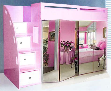 Bunk Bed With Wardrobe Custom Loft Bed W Built In Wardrobe Mirror Bi Fold Doors Drawer Stairs Home