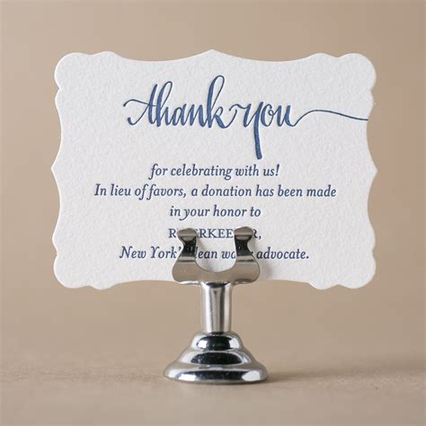 Thank You Note For Donation In Lieu Of Flowers Get Free Letterpress Wedding Favor Cards From Figura