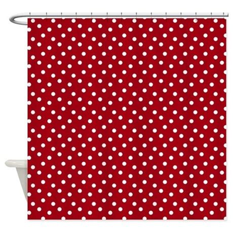 Red White Polka Dot Shower Curtain By Holidayboutique