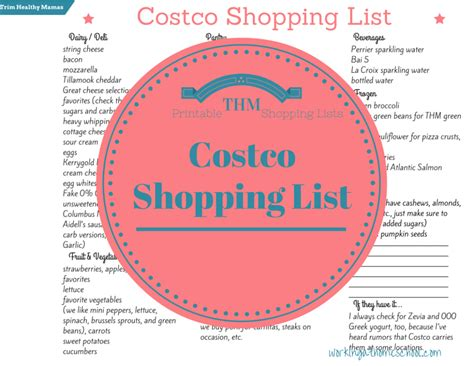 costco shopping list template free costco shopping list for trim healthy free
