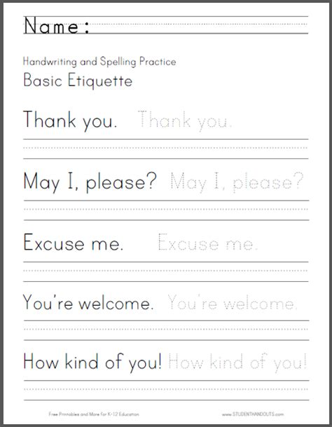 printable writing worksheets pdf basic etiquette handwriting and spelling worksheet free