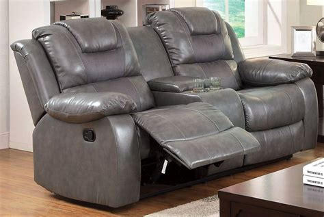 gray reclining loveseat grandolf gray reclining console loveseat from furniture of