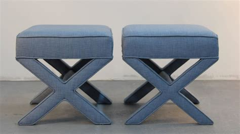 upholstered x bench pair of custom upholstered x benches at 1stdibs