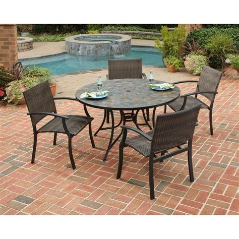 Home Styles Stone Harbor 51 In 5 Piece Slate Tile Top Slate Top Patio Table