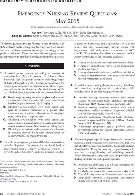 emergency nursing review questions may 2015 journal of emergency nursing