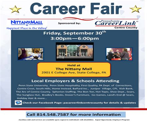 pa careerlink job fair pa careerlink nittany mall job fair 9 30 3pm