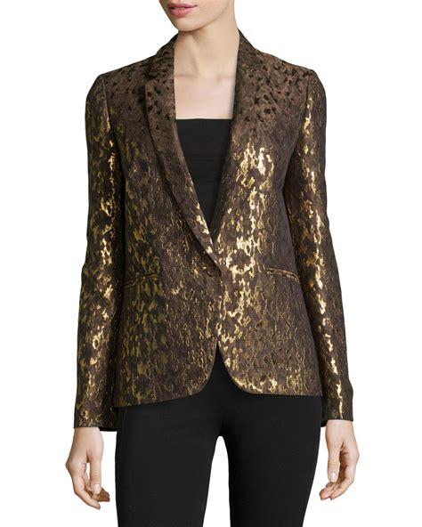 Brocade Jacket michael kors brown metallic brocade one button jacket lyst