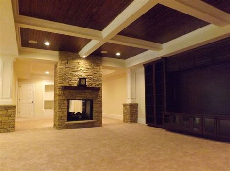 wood paneling basement basement coffered ceiling with wood paneling wow just