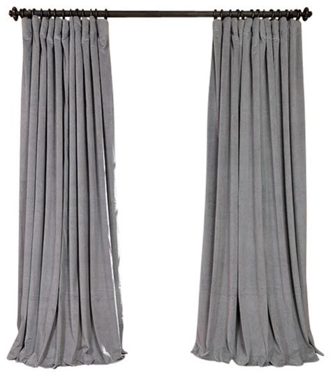 Grey Velvet Curtains Signature Silver Gray Velvet Blackout Curtain 100 Quot X120 Quot Traditional Curtains By Half