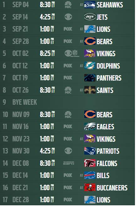 printable nfl schedule with bye weeks 2014 nfl schedule packers schedule event