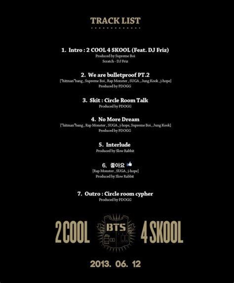 bts song list bangtan boys aka bts come out with 2cool 4skool track list