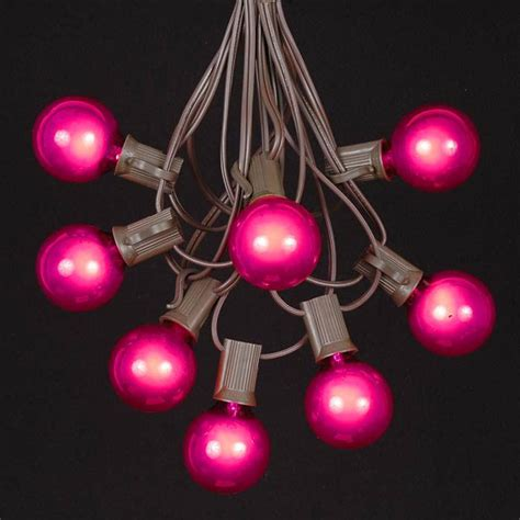 Pink G40 Globe Round Outdoor String Light Set On Brown Pink String Lights