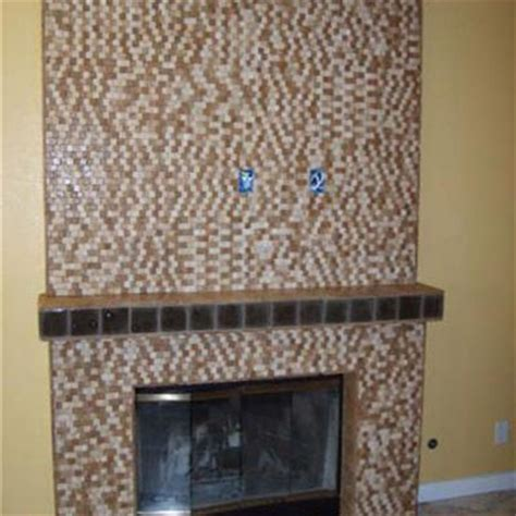 Glass Mosaic Tile Fireplace by Fireplaces Westside Tile And