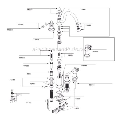 Moen 7400 Faucet Repair Moen S712 Parts List And Diagram Ereplacementparts Com