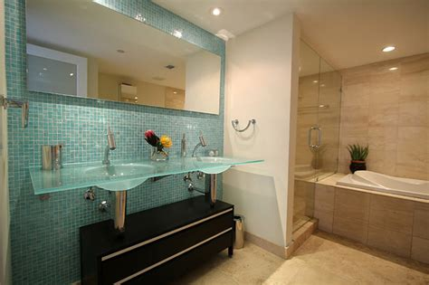 Accent tile wall in bathroom modern bathroom miami by glass tile warehouse