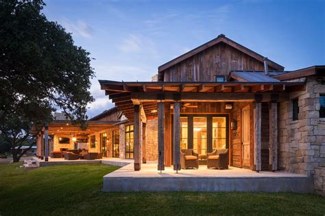 modern rustic barn style retreat in hill country
