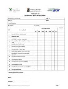 Air Checklist Template by Weekly Air Compressor Check List
