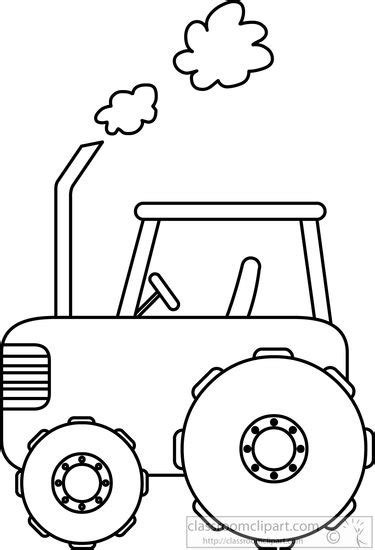 Tractor Clip Art Black And White Outline Sketch Coloring Page sketch template