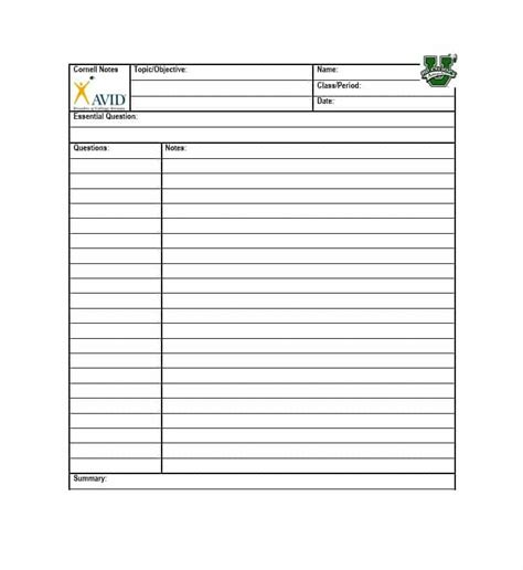 cornell note pdf note taking template pdf cornell note