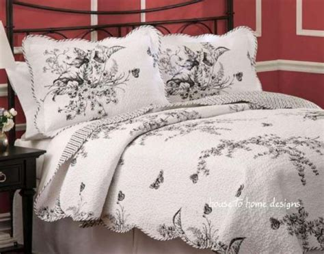 black white toile full queen quilt set french country