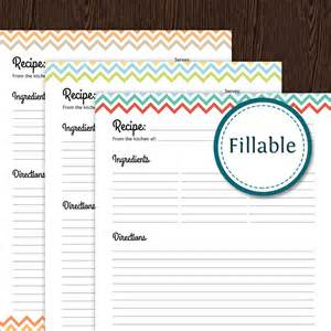 free printable recipe page template recipe card page colourful chevron fillable
