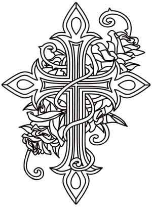 coloring pages of roses and crosses crosses urban threads and rose design on pinterest